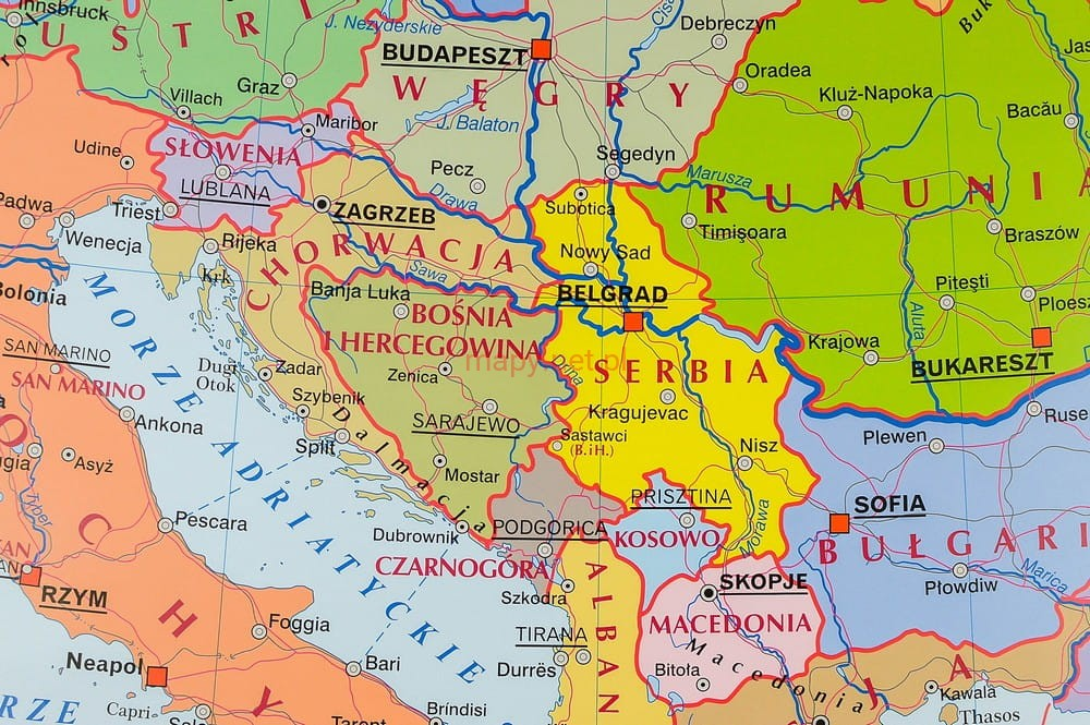 Europa Mapa Scienna Ludnosci I Polityczna