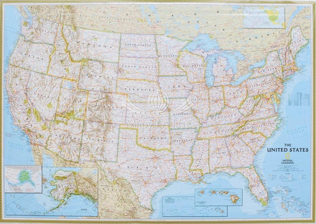 Usa Arkusz Mapa Scienna Polityczna Classic