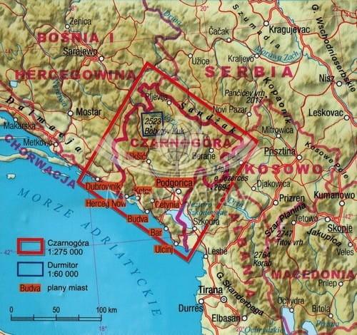 Czarnogora Laminowana Mapa Samochodowa