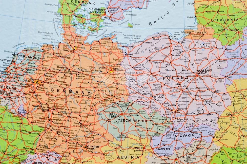 Europa Polityczno Drogowa Mapa Na Korku