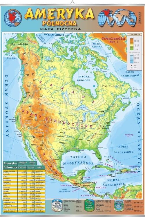 Ameryka Polnocna Mapa Fizyczna Plansza Edukacyjna