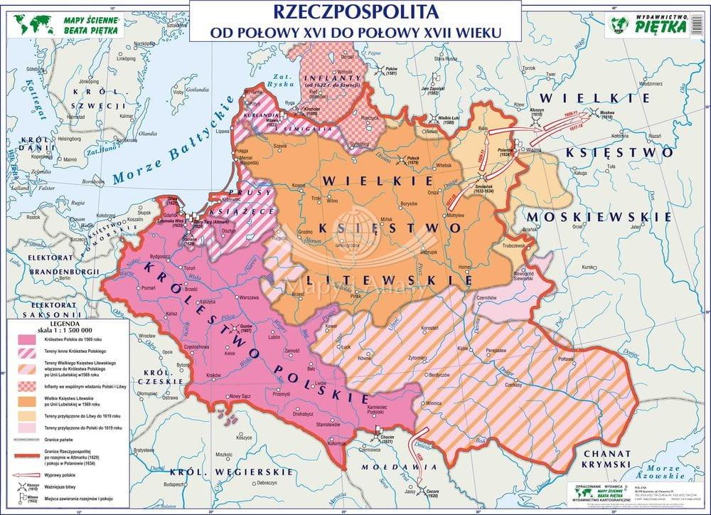 Polska W Xvi I Xvii W Mapa Szkolna Historyczna