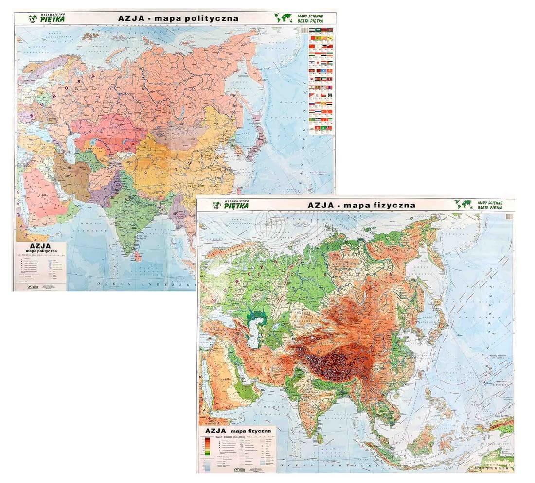 Azja Mapa Scienna Polityczno Fizyczna