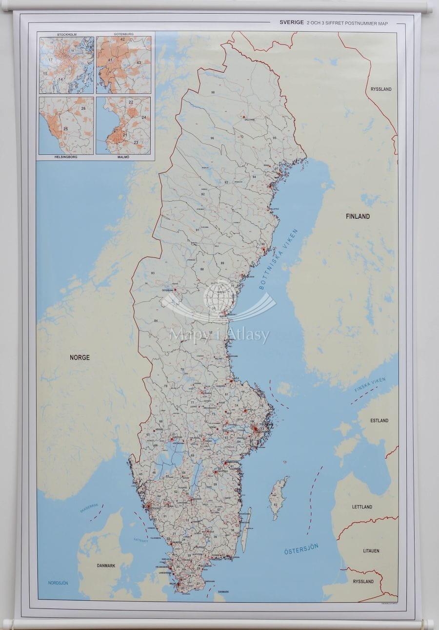 Szwecja Mapa Scienna Kody Pocztowe