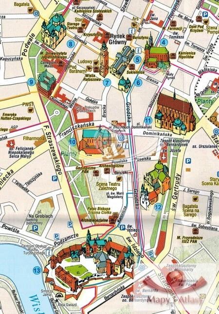 Krakow Mapa Compass