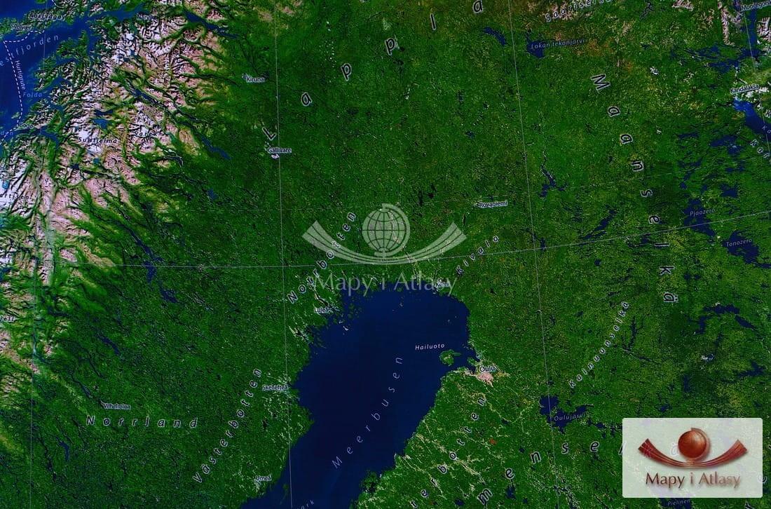 Skandynawia Mapa Scienna Satelitarna Panorama