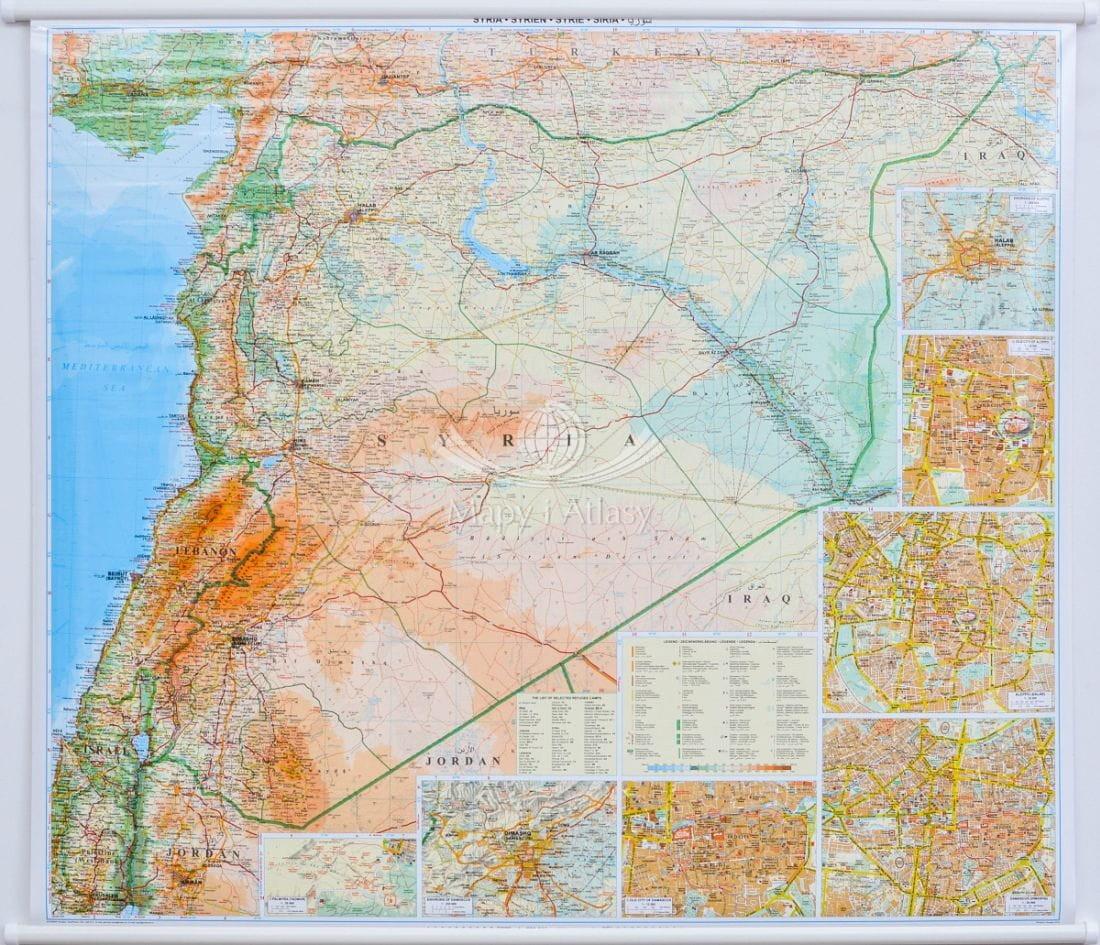 Syria Mapa Scienna Drogowa Do Powieszenia