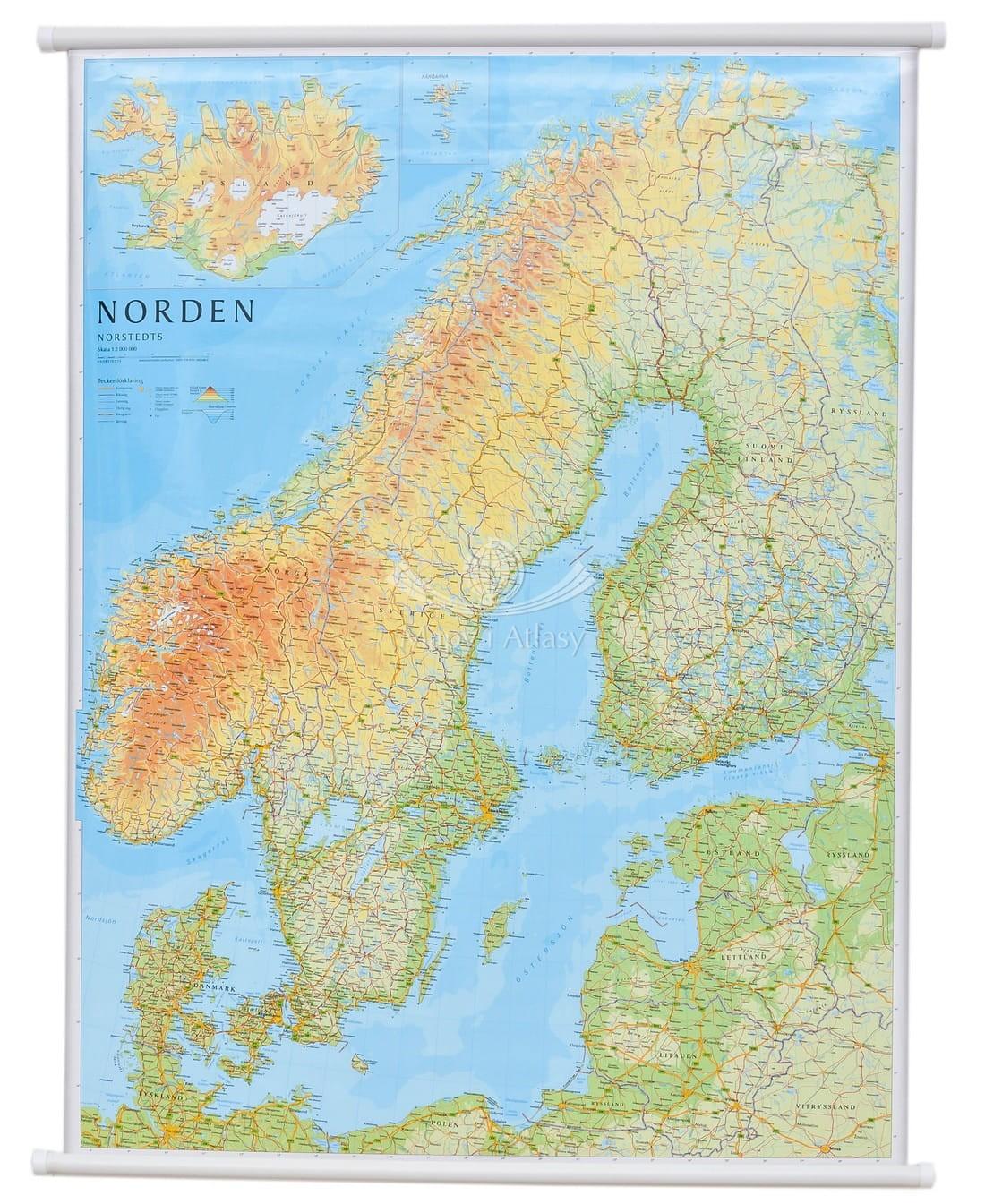 Skandynawia Mapa Scienna Drogowo Fizyczna