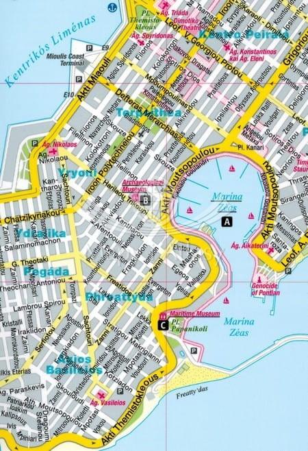 Ateny Skladana Laminowana Mapa Turystyczna