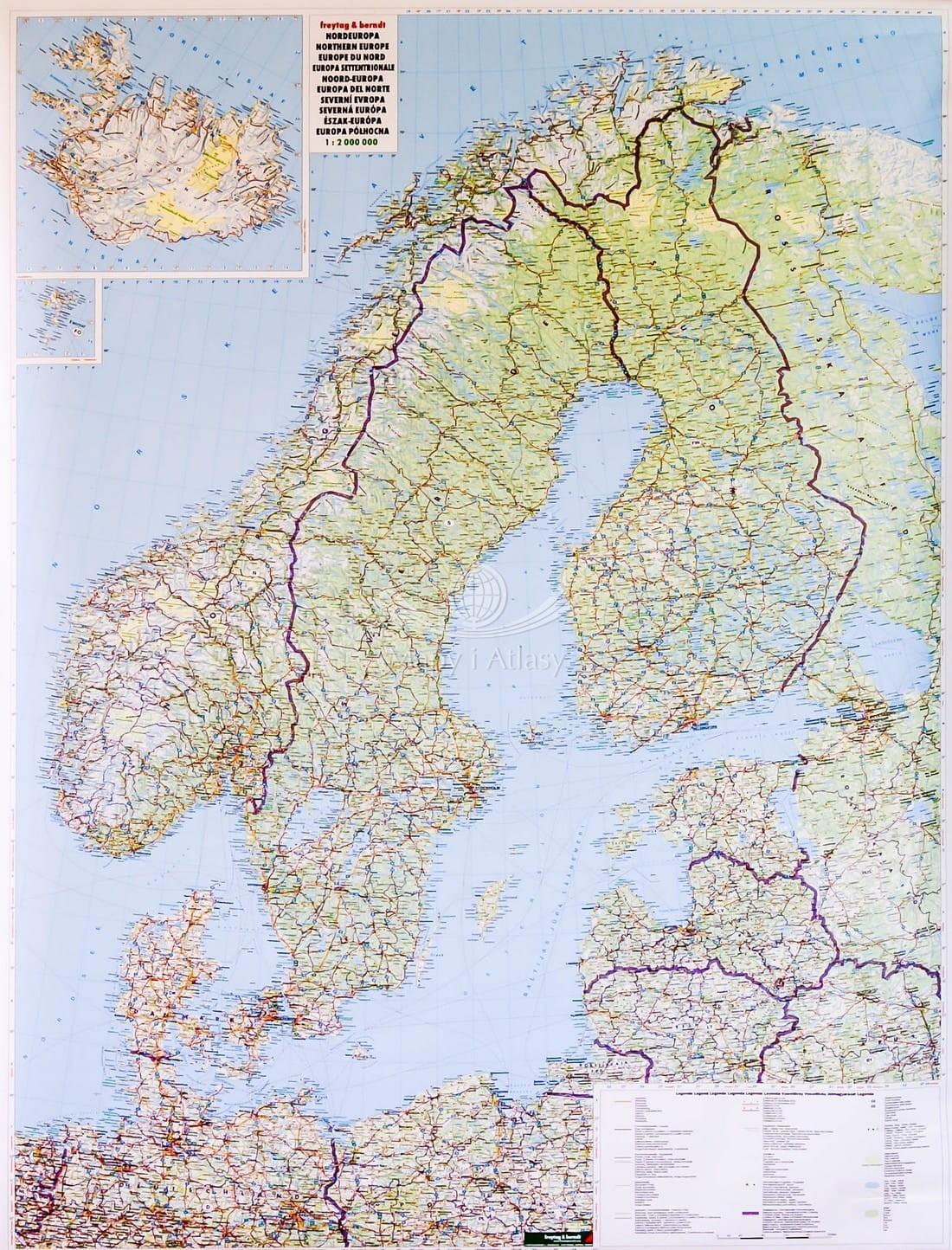 Skandynawia Mapa Drogowa W Ramie Drewnianej