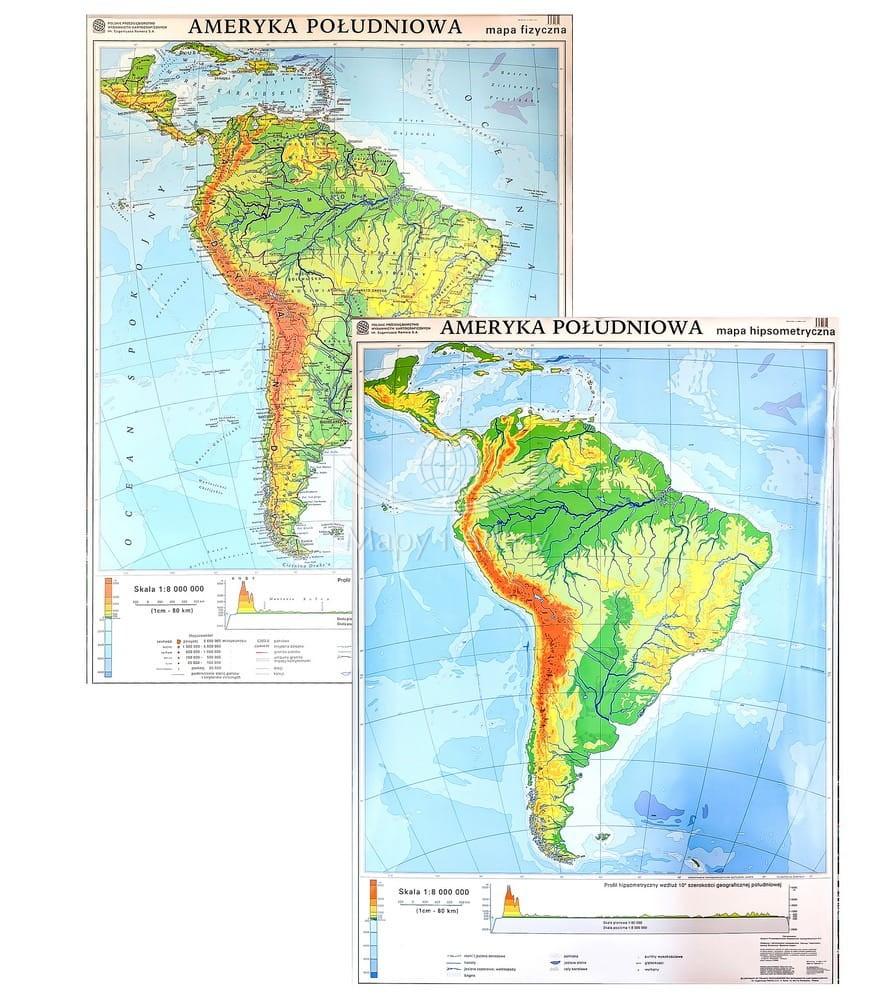 Ameryka Poludniowa Mapa Scienna Fizyczna