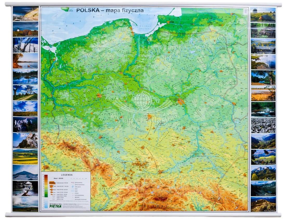 Polska Mapa Scienna Fizyczna Szkolna