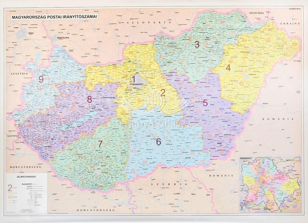 Wegry Mapa Scienna Z Kodami Pocztowymi
