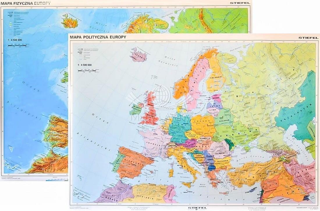 Europa Dwustronna Mapa Scienna Szkolna