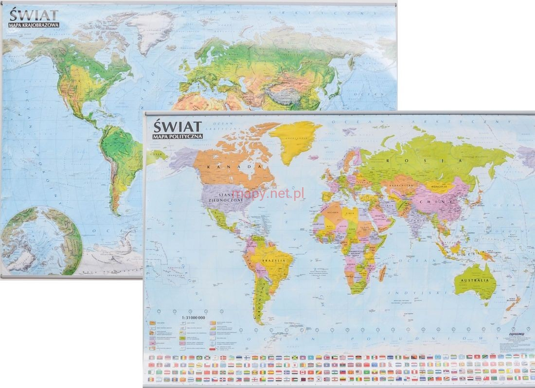 Swiat Mapa Scienna Polityczna I Fizyczna