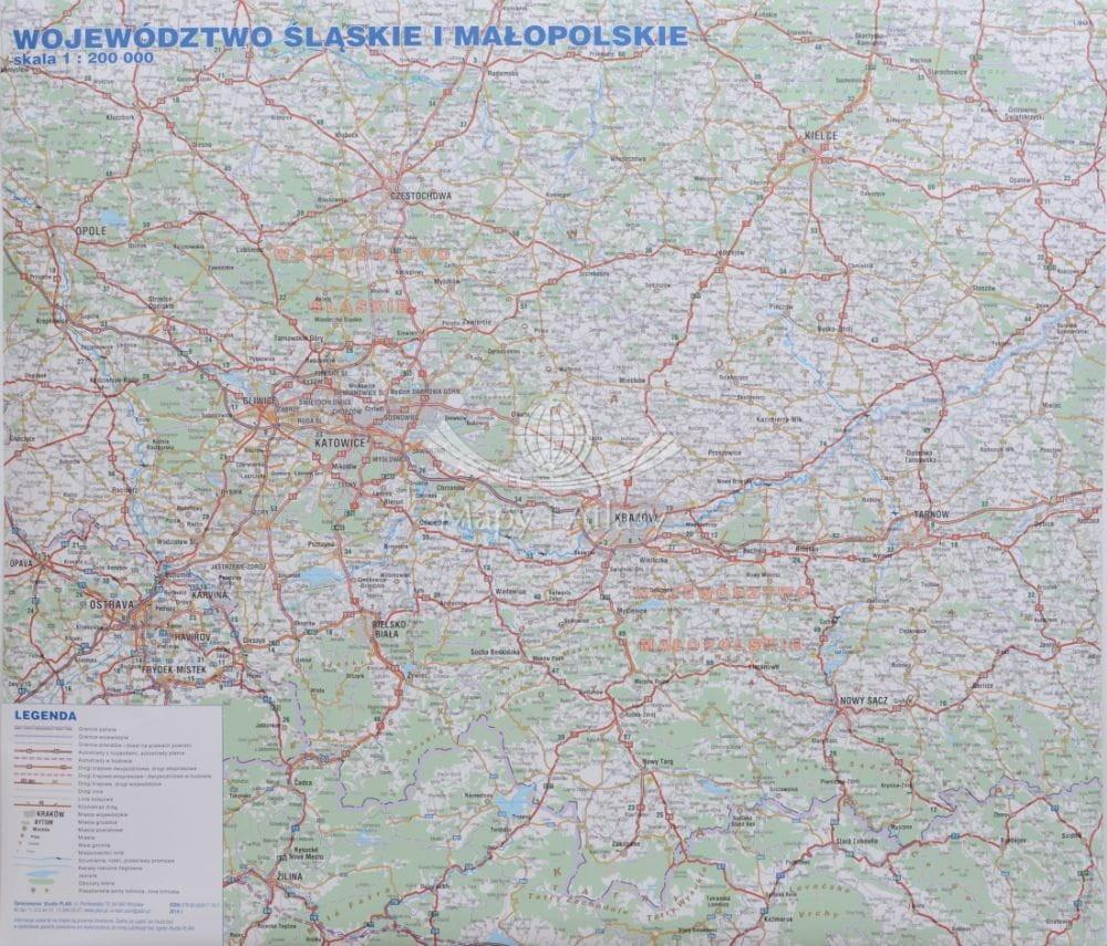 Województwo śląskie I Małopolskie Mapa