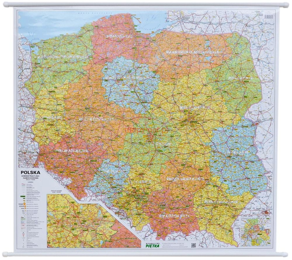 Polska Mapa ścienna Drogowa Wydanie 2018