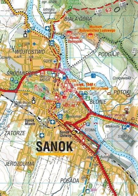 Sanok I Okolice Mapa Skladana Turystyczna