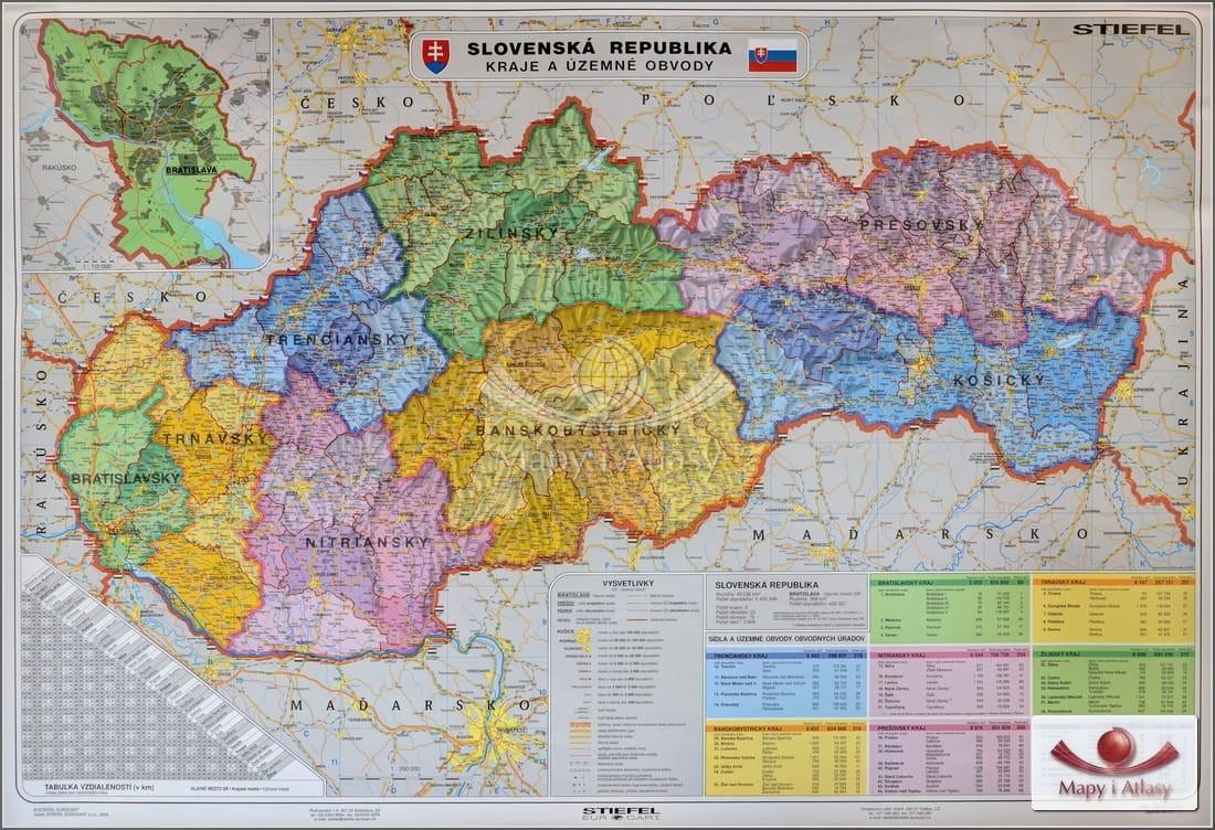 Slowacja Mapa Scienna Slowacji Administracyjno Drogowa