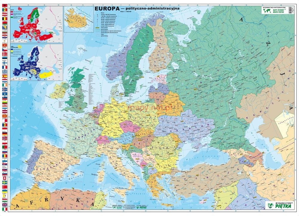 Europa Mapa Scienna Polityczna Pietka