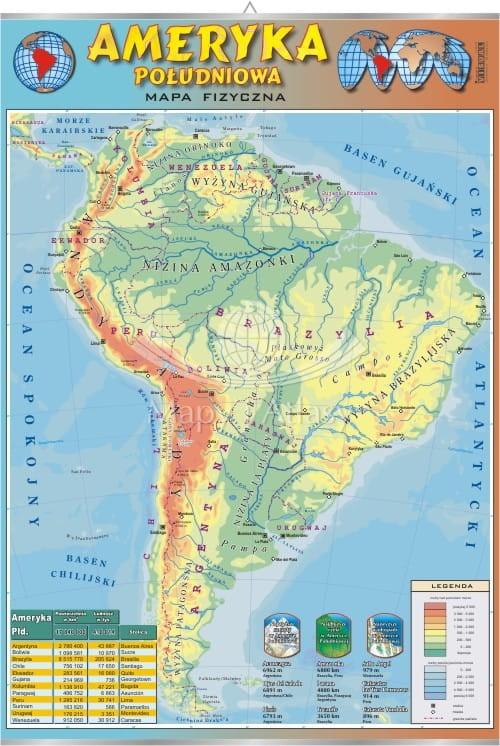 Ameryka Poludniowa Mapa Fizyczna Plansza Edukacyjna