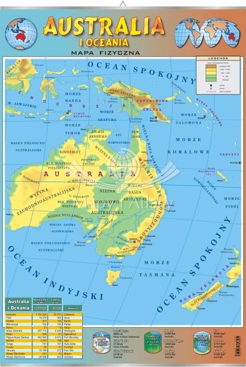 Ausrtralia Mapa Fizyczna Plansza Edukacyjna