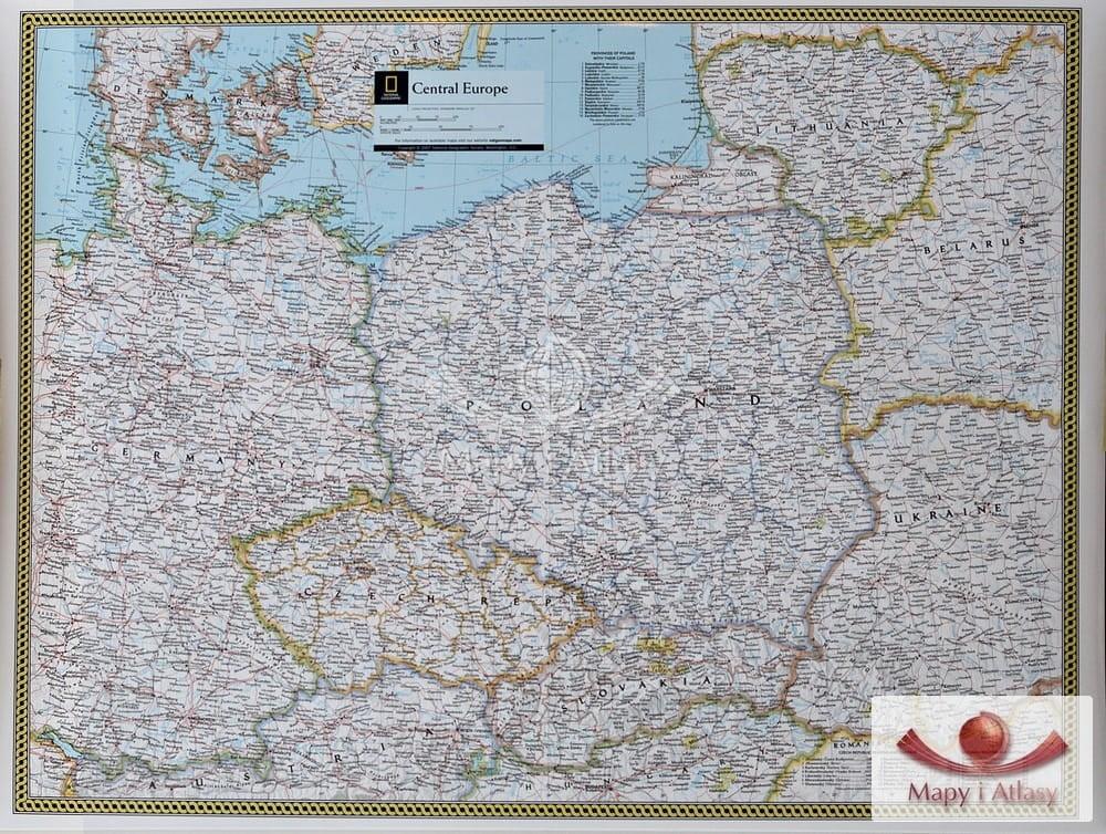 Europa Srodkowa Mapa Scienna National Geographic