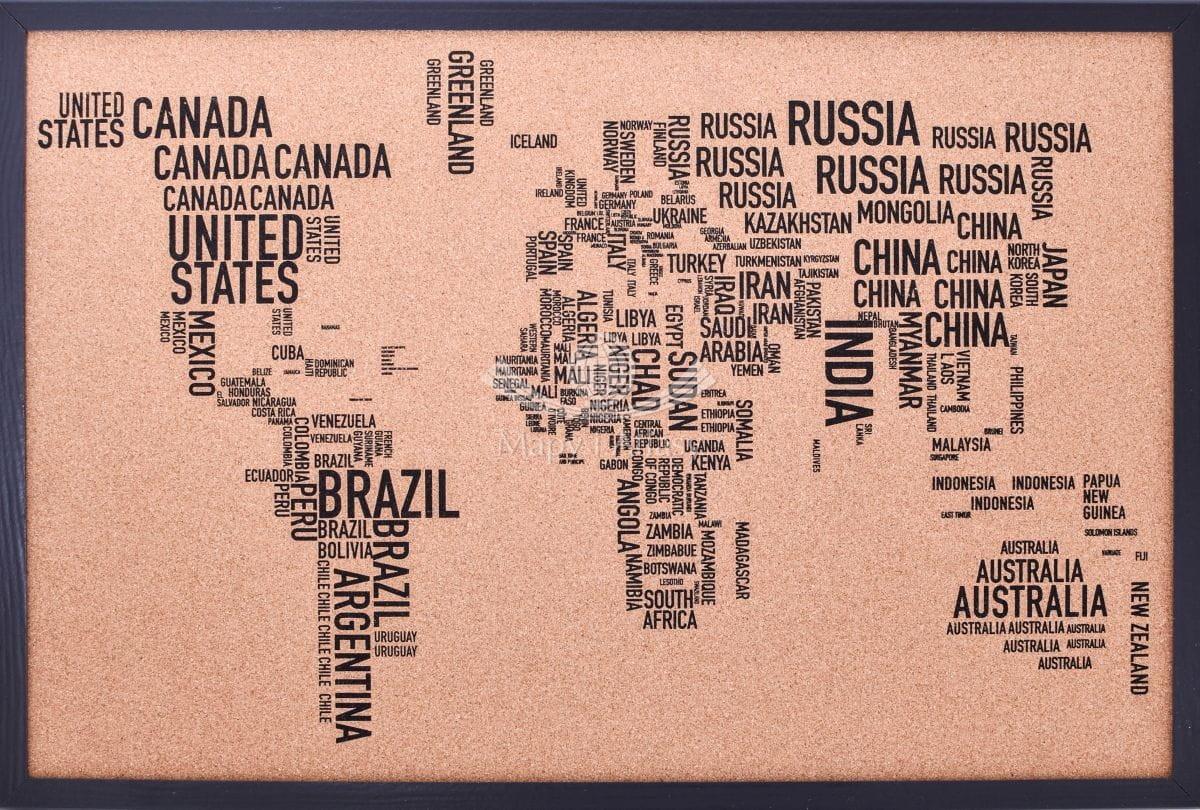 świat Mapa Konturowa Na Korku W Ramie Litery