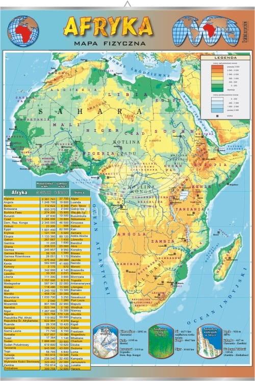 Afryka Mapa Fizyczna Plansza Edukacyjna