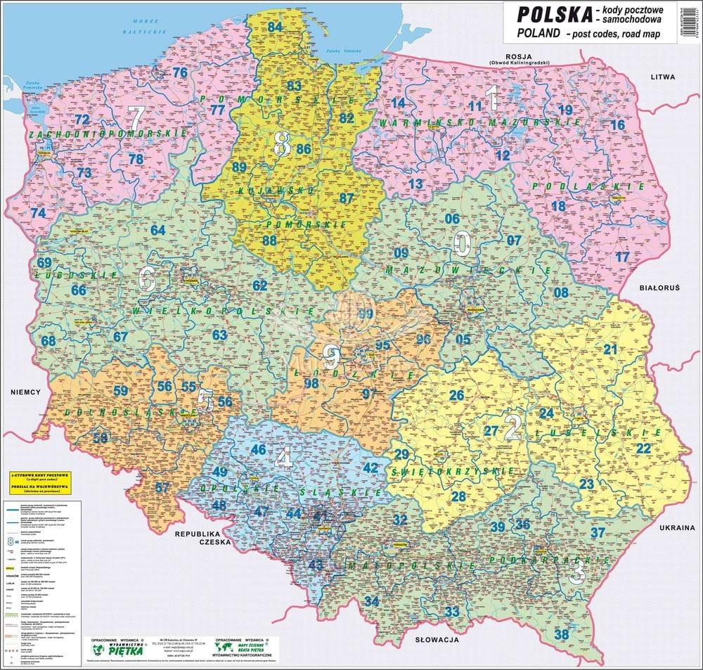 Polska Mapa Scienna Kodowo Samochodowa