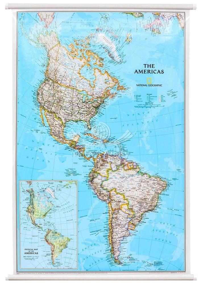 Ameryka Polnocna I Poludniowa Mapa Scienna