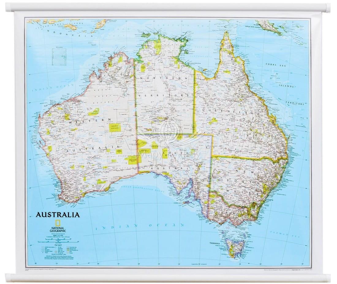 Australia Mapa Scienna Do Powieszenia Ng