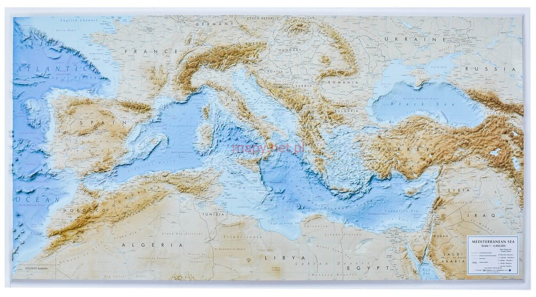 Morze Srodziemnne Mapa Plastyczna 3d