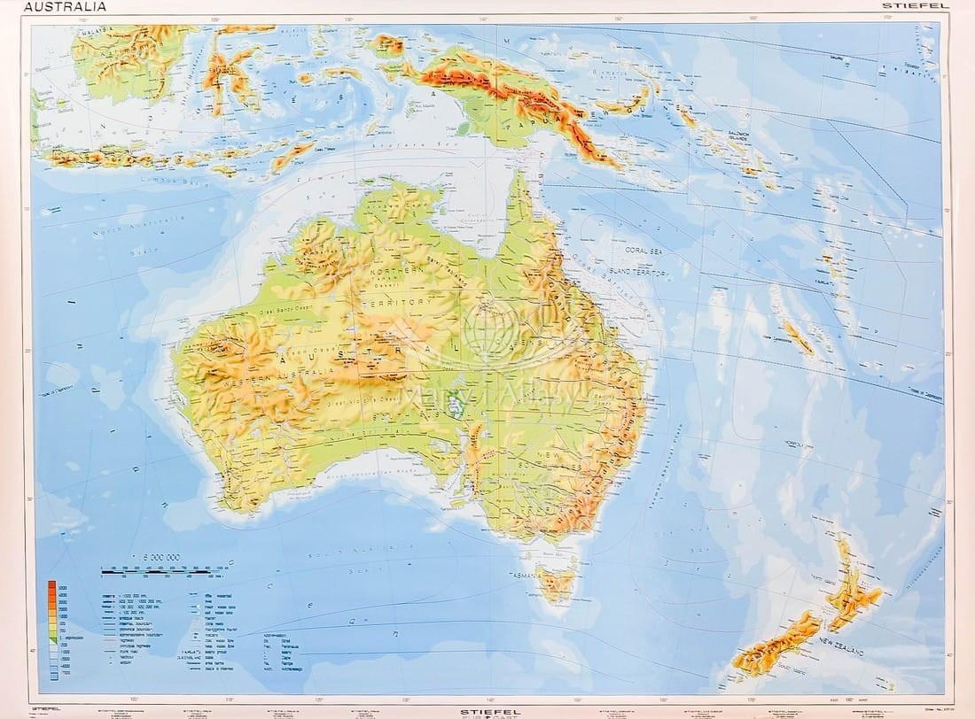 Australia Mapa Scienna Fizyczna Szkolna