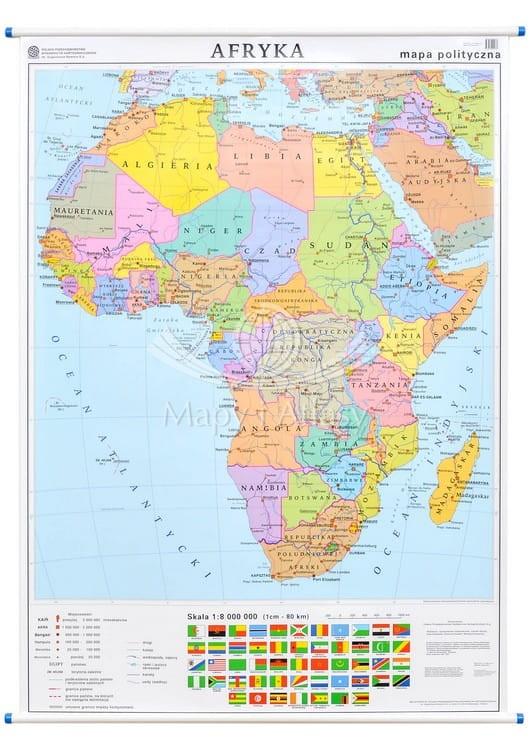 Afryka Mapa Scienna Polityczno Konturowa