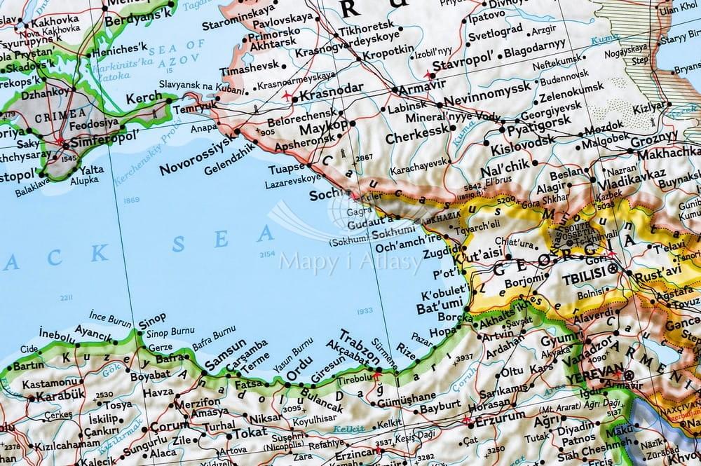 Morze Srodziemne Mapa W Ramie Drewnianej Ng
