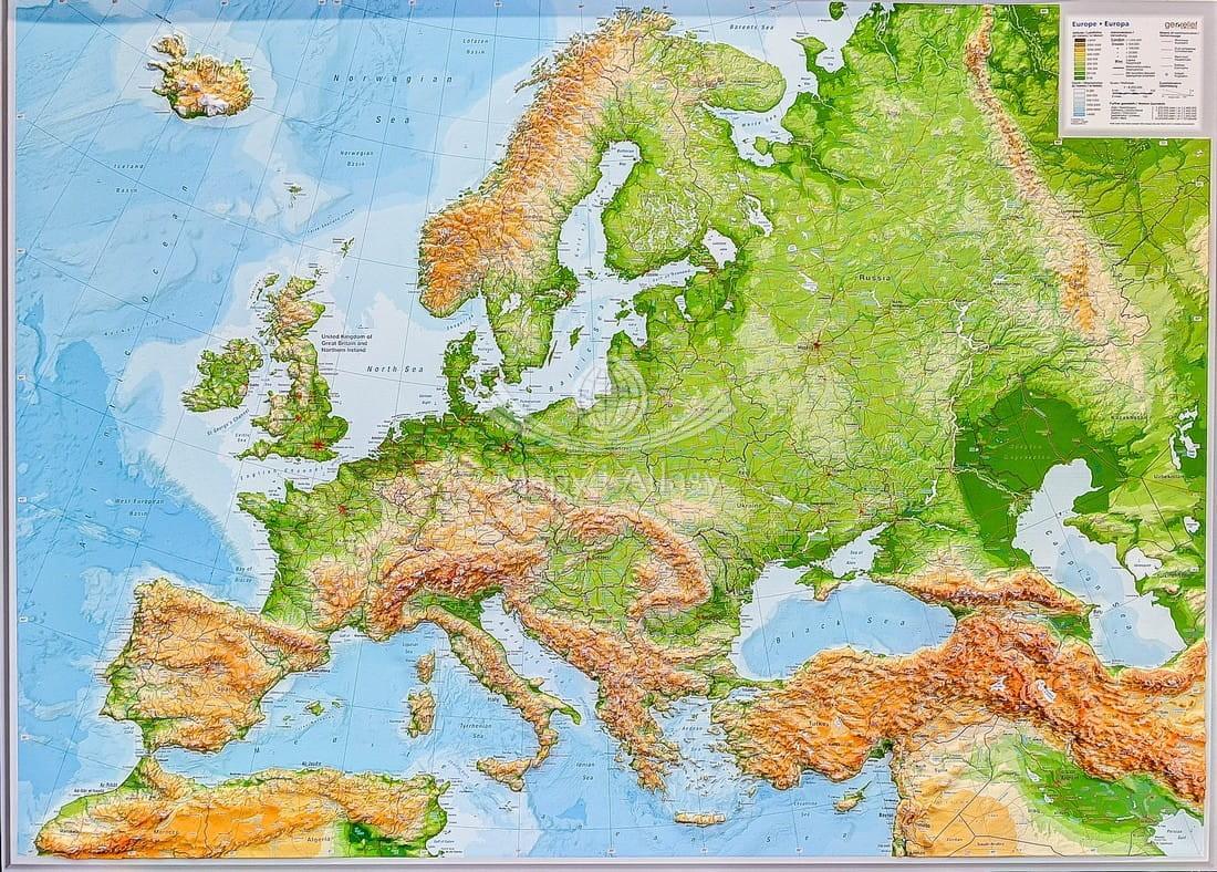 Europa Mapa Plastyczna Fizyczna 3d