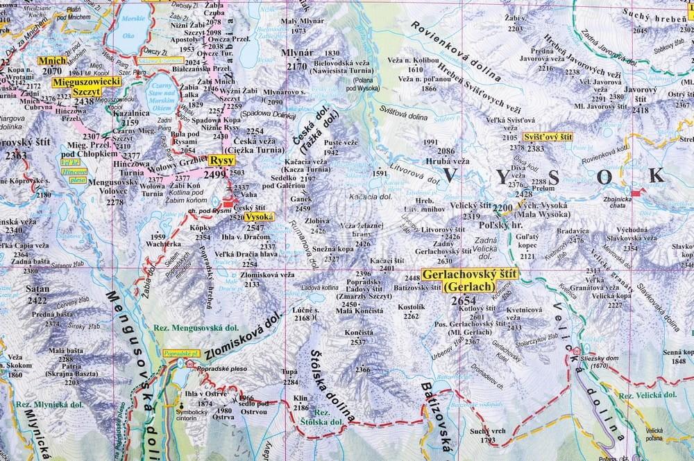 Tatry Polskie I Slowackie Mapa Scienna