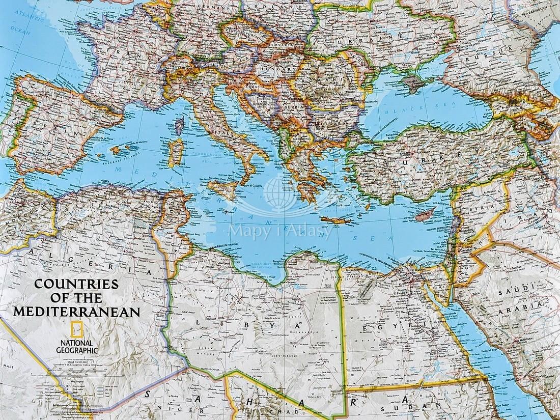 Morze Srodziemne Mapa Scienna Polityczna