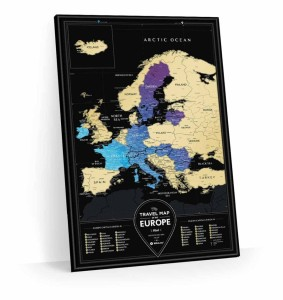 Europa. Mapa zdrapka Travel Map Black Europe w ramie