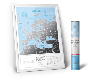 Europa. Mapa zdrapka Travel Map Silver Europe w ramie