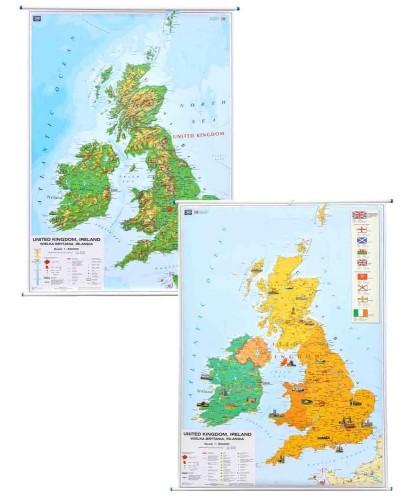 Wielka Brytnia Mapa Scienna Polityczno Fizyczna