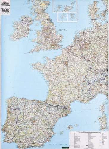 Europa Zachodnia Mapa Scienna Drogowa